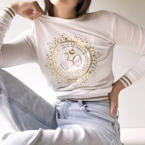 Spiritual Gangster White and Gold Graphic Sweater